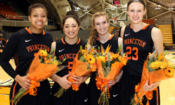 From left, the Princeton women's basketball Class of 2015: Mariah Smith, Alex Rodgers, Blake Dietrick, and Jess Shivers. (Beverly Schaefer)