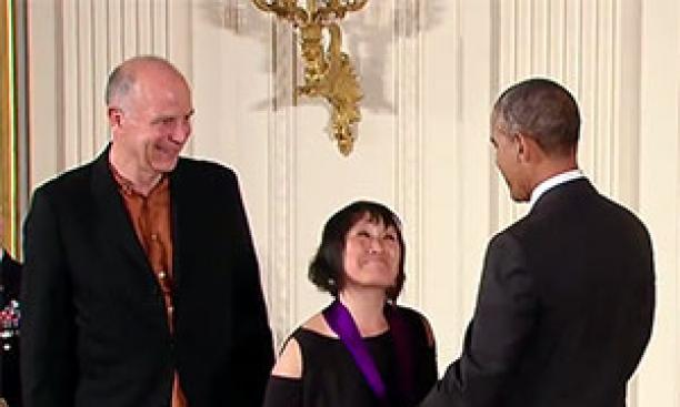 National Medal of Art recipient Tod Williams '65 *67, left, looks on as President Barack Obama congratulates Williams' wife and fellow honoree Billie Tsien. (WhiteHouse.gov)