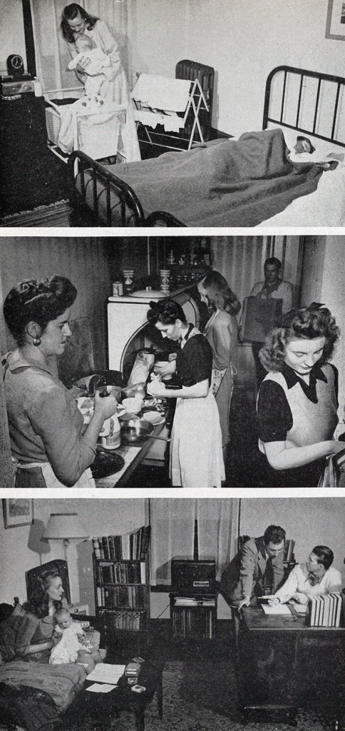 Life at 19 University Place, one of the University residences for married students, in 1946. (PAW Archives, Feb. 22, 1946)