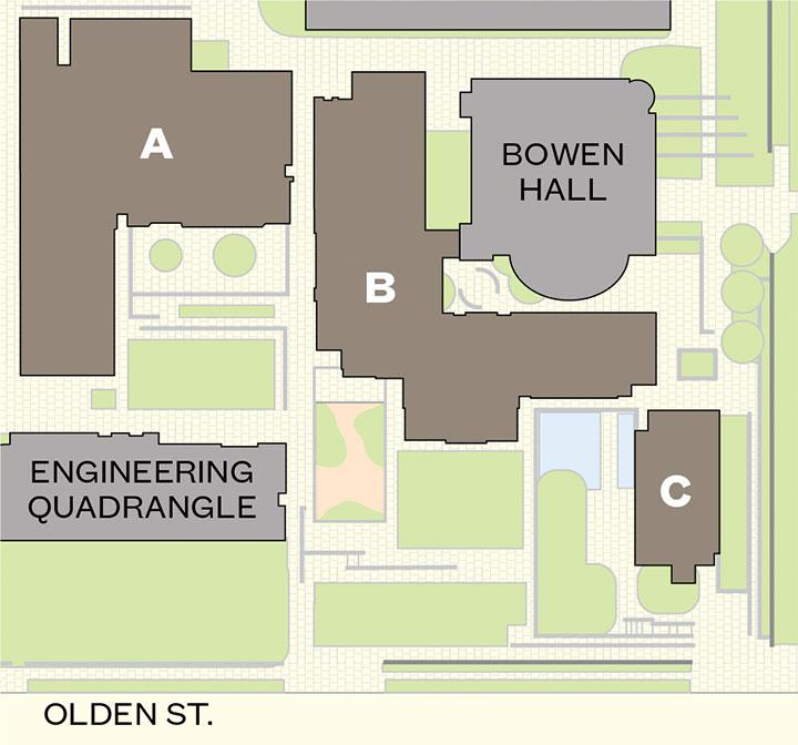 The Andlinger Center laboratories (A and B) and lecture hall (C), connected underground, are located at the corner of Olden Street and Prospect Avenue.