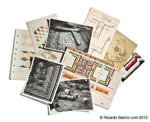 Field notebooks from the ­excavations include ­photographs, measured drawings, and colored depictions of geometric mosaics.