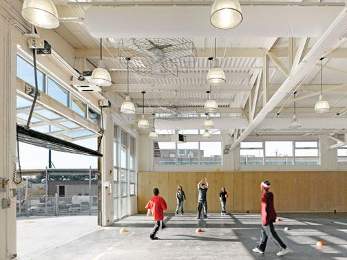 The gym in the Atrium School, designed by Maryann Thompson '83.