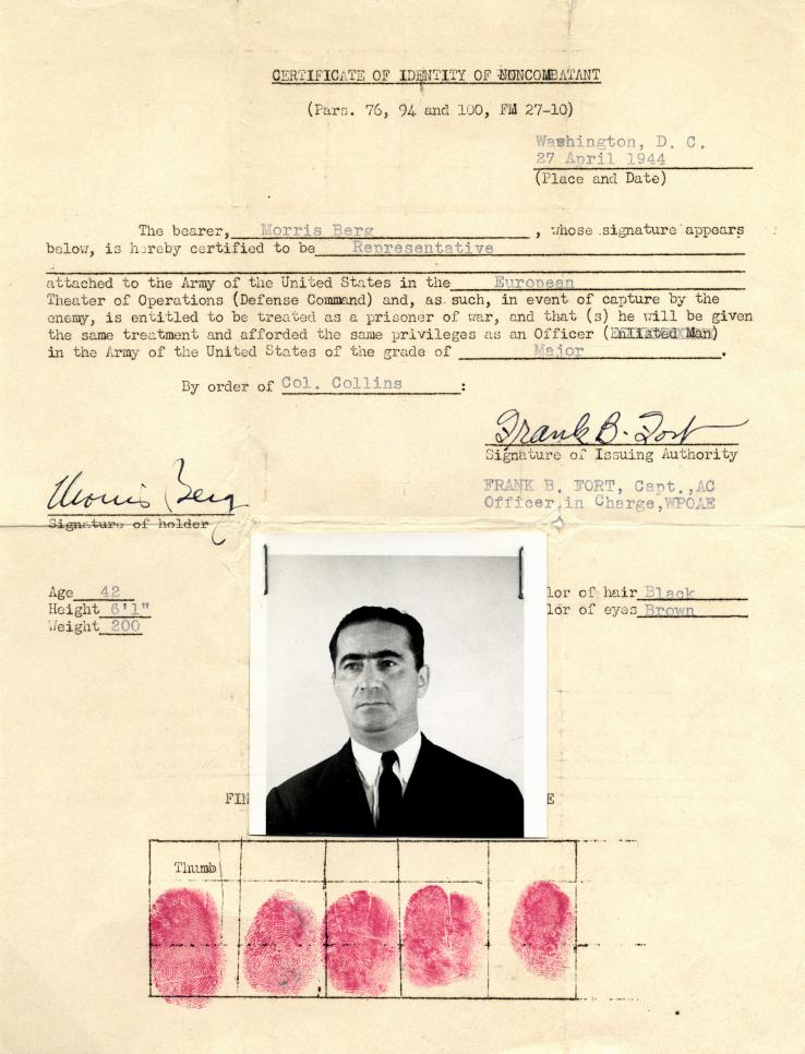 "Berg used his foreign language skills to collect intelligence in Europe during World War II, working for the Office of Strategic Services. In 1944, he was issued this ""certificate of identity of non-combatant"" to carry during his travels."