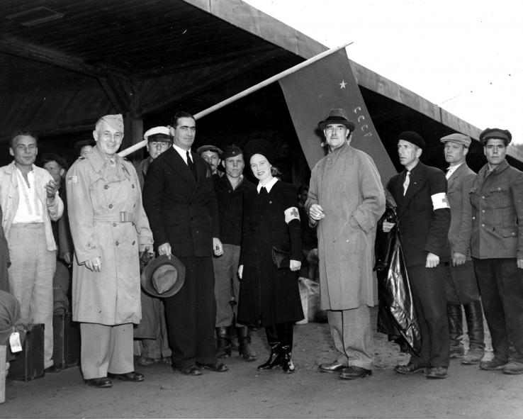 Berg poses with Allied military officials in Oslo, Norway, in June 1945. After the war, his work as a spy dwindled.