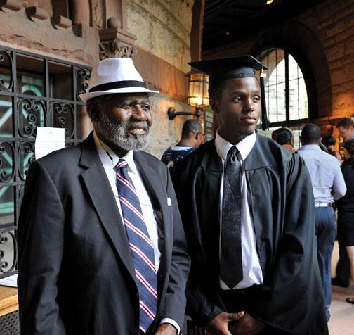 Jonathan K. Ford Jr. '12 and his grandfather, G.W. Lindsey Jr., at the Pan-African graduation ceremony. Princeton also held special ceremonies for Latino and LGBT graduates.