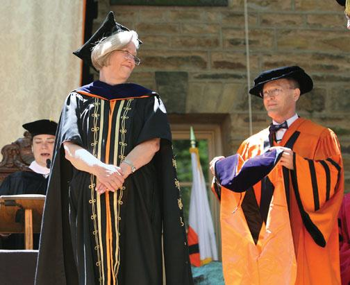 After awarding honorary degrees to five people, President Tilghman got one of her own.
