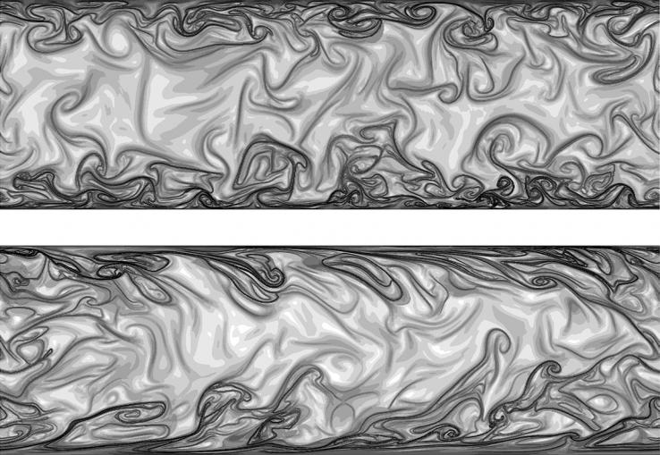 "Nobel Laureate Richard Feynman *42 has described turbulence as ""the most important unsolved problem of classical physics."" This image shows both an aerial view and a profile view of a turbulent flow between two parallel walls. Turbulence is by definit"