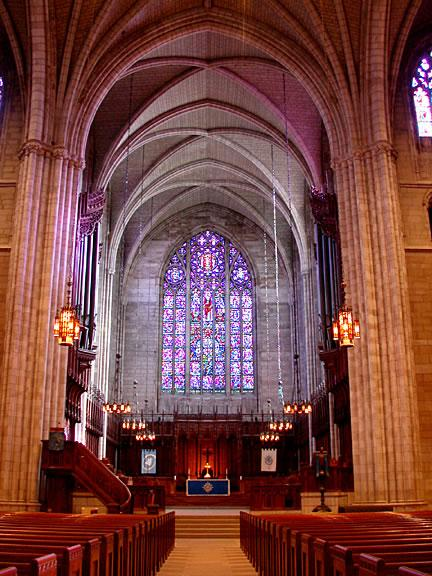 The University Chapel's stained glass balances the rationalism of the academy and the spiritualism of Christianity.