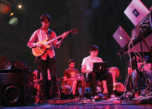 The Princeton Laptop Orchestra rehearses in spring 2009.