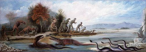 """This 1877 oil painting by British artist Benjamin Waterhouse Hawkins, """"Cretaceous Life of New Jersey,"""" hung in Nassau Hall."""