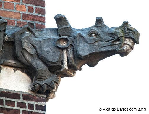 This gargoyle of the strange mammal Uintatherium juts from the northwest corner of Guyot Hall. The building has other carvings of extinct animals, as well.