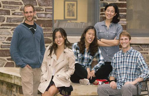 PAW's On the Campus writers, from left: Gregory Rosalsky GS, Tara Thean '13, Lillian Li '13, Angela Wu '12, and Eric Silberman '13.