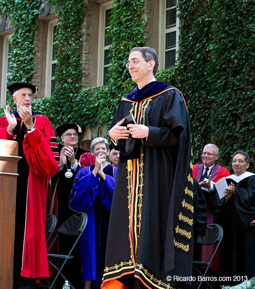 Faculty members and alumni who went on to lead colleges themselves applaud President Eisgruber at his public installation Sept. 22.