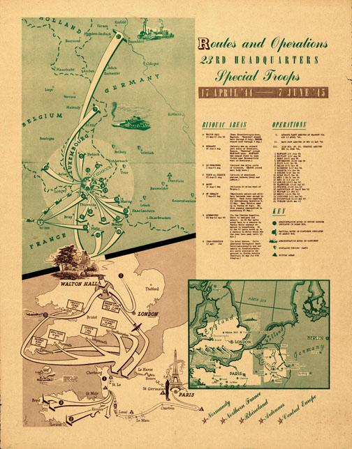 A map created by Ghost Army artist George Martin at the end of the war shows the unit's operations.