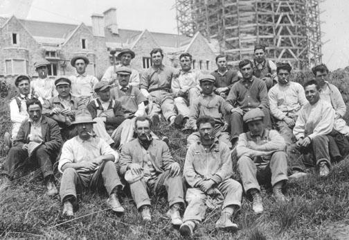 Workers take a break from construction of Cleveland Tower in this 1913 photograph from the Princeton Historical Society.