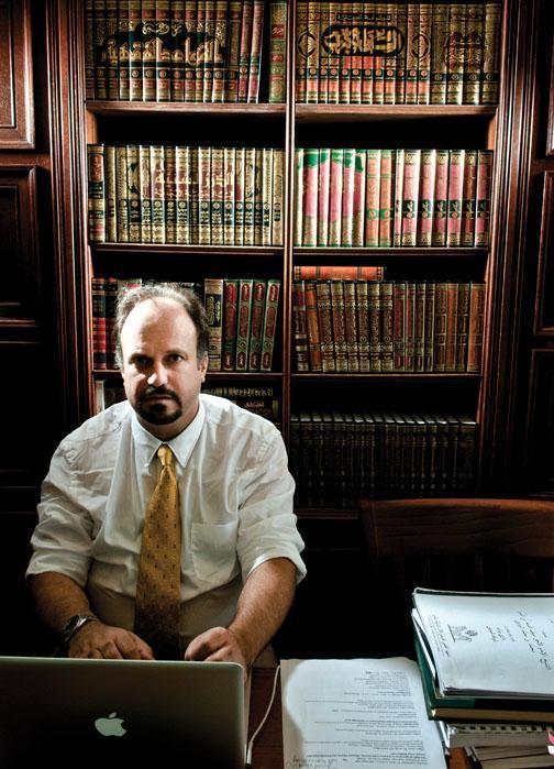 Bernard Haykel works in his office in Jones Hall.