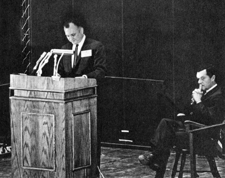 Walter Hickel at the Jadwin podium March 5, 1970