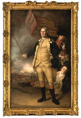 "Charles Willson Peale's ""George Washington at the Battle of Princeton,"" in its refurbished frame."