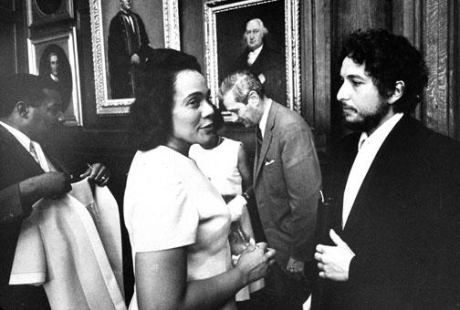Coretta Scott King, widow of the Rev. Martin Luther King Jr. and a civil-rights leader in her own right, and singer/songwriter Bob Dylan have a few words after receiving honorary degrees at Commencement in 1970.