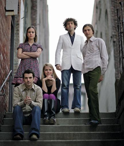 Brittany Haas '09, standing at left, and the other members of Crooked Still.