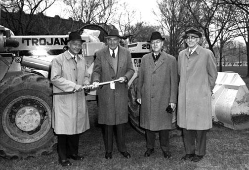 Peyton Hall groundbreaking in 1966; from left, University Financial Vice President and Treasurer Ricardo Mestres, Bernard Peyton 1917, Dean of the Faculty J. Douglas Brown, and Lyman Spitzer *38.