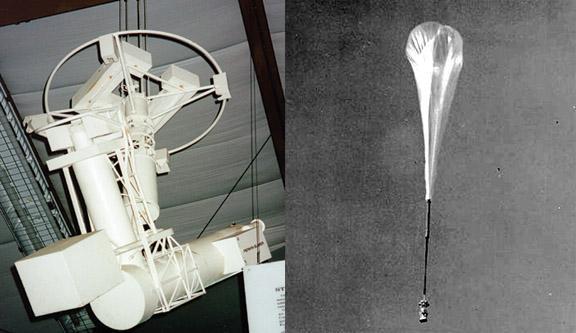 Model of Stratoscope II, left; Stratoscope I and NASA balloon