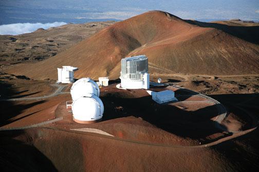 Subaru Telescope domes on the summit of Mauna Kea.