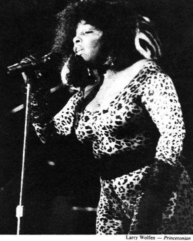 Chaka Khan, 1985: Khan wore leopard spots to perform for an audience of Tigers. By the mid-'80s, campus concerts were dwindling as top acts began to prefer larger arenas. (Photo: Larry Wolfen '87)