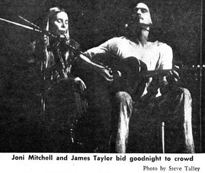 "James Taylor with Joni Mitchell, 1970: The crowd roared when Mitchell, a surprise guest, came on stage to sing along on ""Sweet Baby James."" (Photo: Steve Talley '73)"