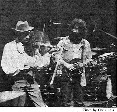 Grateful Dead, 1971: Legend has it that Jerry Garcia (pictured with Papa John Creach in 1970) vowed never to return to Princeton after being hassled for having a joint on stage. (Photo: Chris Ross '74)