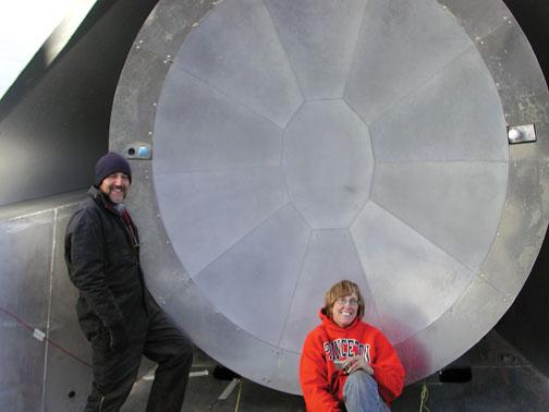 Research scientist Michele Limon and Princeton professor Suzanne Staggs *93 take a break in front of the ACT telescope in 2007. Staggs is working on a microwave telescope called QUIET that will begin operating nearby.