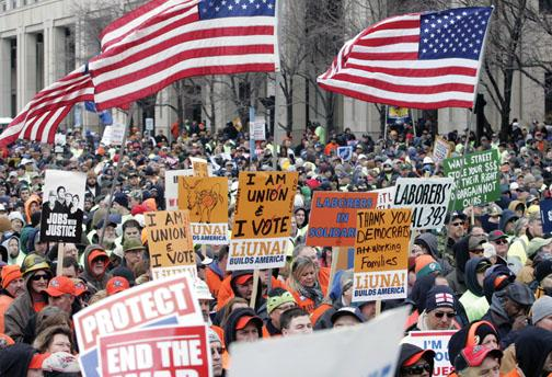 Protesters rally March 10 at the Statehouse in Indianapolis against what they called an attack on labor unions.