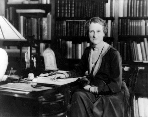 Undated photo of Beatrix Jones Farrand in the library at Reef Point, her family's home at Bar Harbor, Maine.