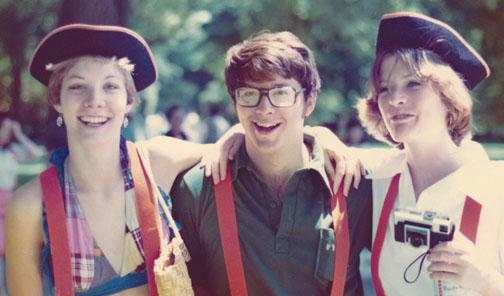 Betsy Hay '76, left, with classmates Buddy Haas and Sylvia Stevenson at Reunions in 1976. Hay and Haas later married.