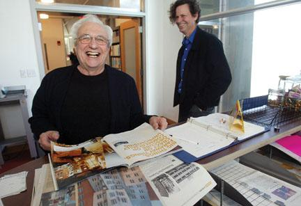 Frank Gehry, left, and Craig Webb '74 in 2004 at MIT, where they worked on the Ray and Maria Stata Center complex.