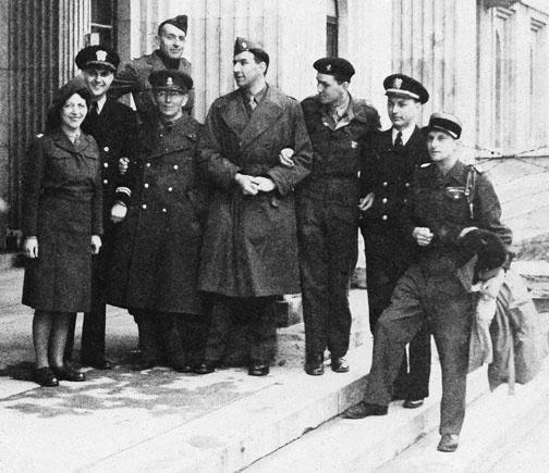 MFAA officers at the Munich collecting point, including Lt. Craig Hugh Smyth '38 *56, second from left, and Lt. Charles Parkhurst *41, second from right.