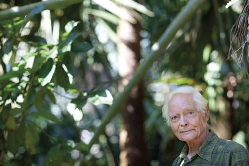 W.S. Merwin '48 in the Maui palm forest that he created and has tended for more than 30 years.