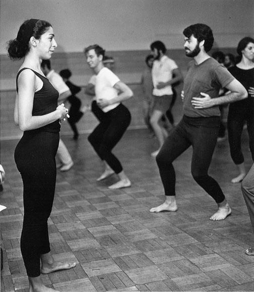 Dance professor Ze'eva Cohen, with a 1969 dance class and, below, in 2003.