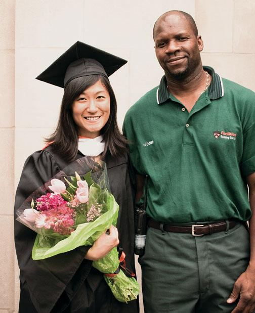 Josue Lajeunesse and Li Deng '10 with flowers he gave her at Commencement.