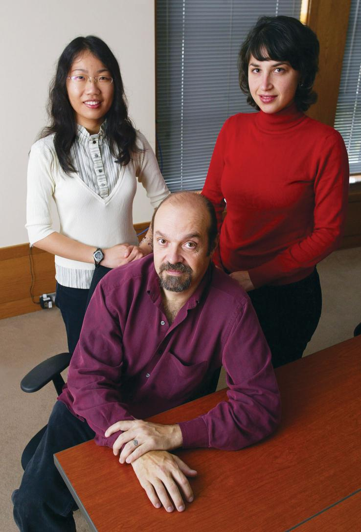 Working on the Aphasia Project are Professor Perry Cook and graduate students Xiaojuan Ma, left, and Sonya Nikolova.