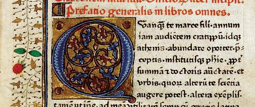 "From ""Biblio,"" a detail of a 1466 illuminated copy of Cicero's ""De Officiis"" (""On Duties"" or ""On Obligations"")."