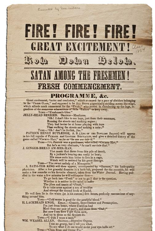 "Among the 30 to 50 sophomore ­""proclamations"" in Mudd Library's ­collection is this program advertising a Freshman Commencement for the Class of 1854."