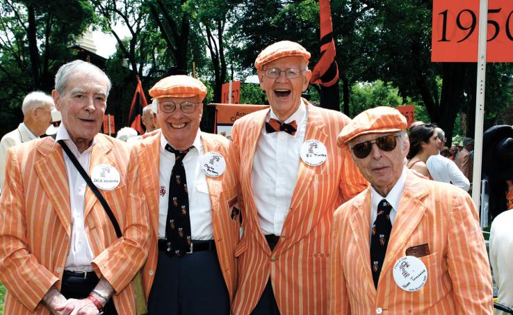 Sassy at their 60th are, from left, '48ers Dick Killough, Charlie Burkman, Ev Pinneo, and Norm Tomlinson.