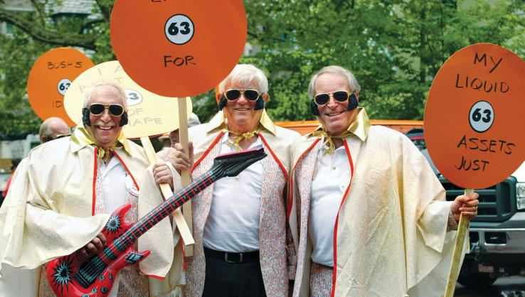 The King lives in the Class of 1963 — in abundance. From left, are Steve Klausner, Larry Hill, and Bruce Hermelee. Viva Princeton '63!