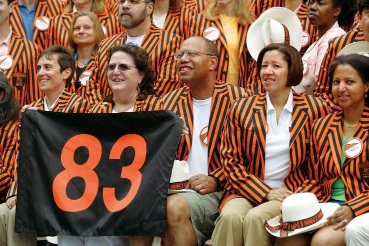 In their new stripes for their 25th reunion are, from left, Elise Wright, Carol Wall h'83, Jon Allison, Jackie McNeill Island, Judith Green McKenzie, and their '83 classmates.