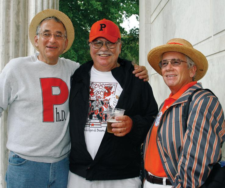 From left, Stephen Jaffe *68, John Mahoney *68, and John Zoeller *67 exhibit the latest in grad-alum fashion.