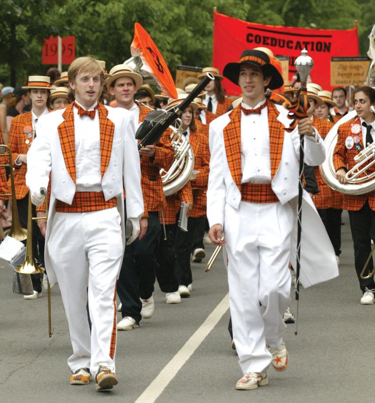 Conductor R.W. Enoch '09, left, and drum major Lucas Giron '09 lead the Princeton band in the P-rade