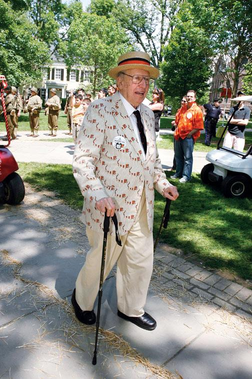 Henry Morgenthau '39 walks the length of the P-rade at his 70th reunion.