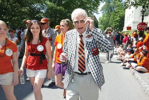 Former N.J. Gov. Brendan Byrne '49 greets spectators along the P-rade route.