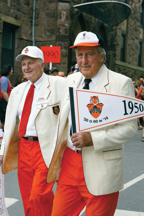 1950 reuners George Sella, left, and Art Pivirotto step lively at their 60th.